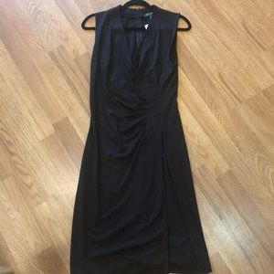 Ralph Lauren Brown Sleeveless Wrap Dress